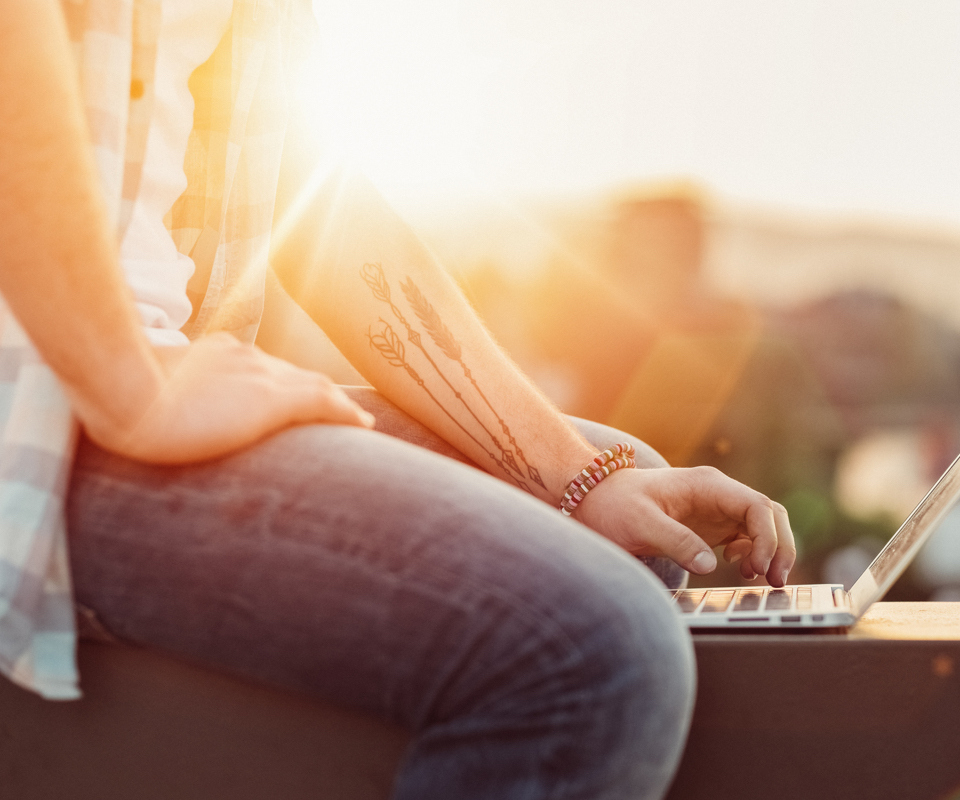 using laptop