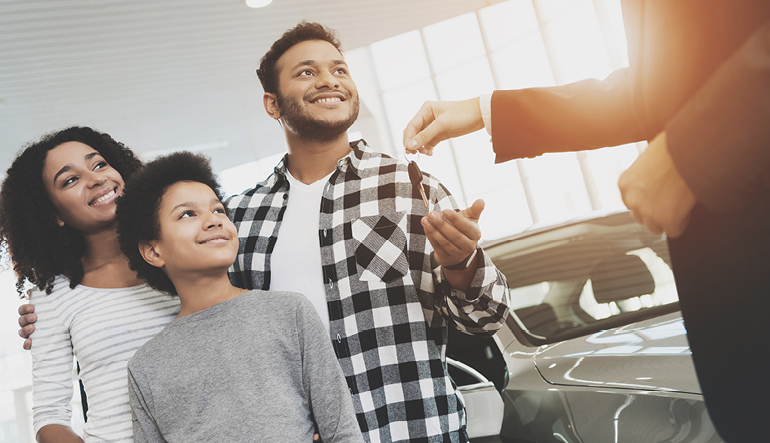 Family purchasing a vehicle