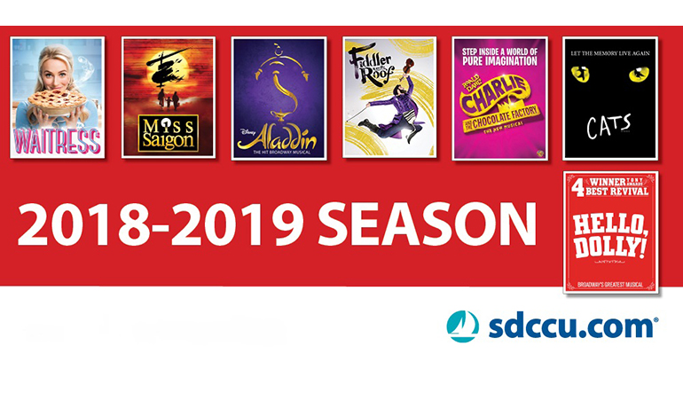 poster for broadway san diego 2018-2019 season sponsored by sdccy