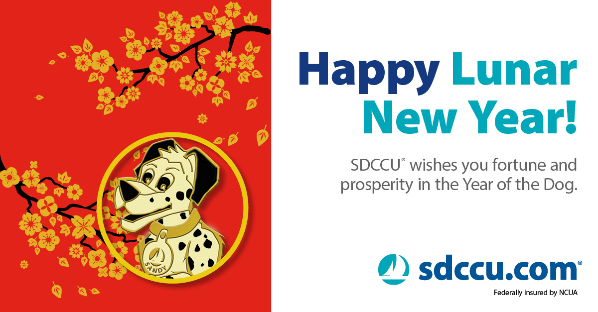 Lunar new year red envelopes pictured with sdccu mascot sandy